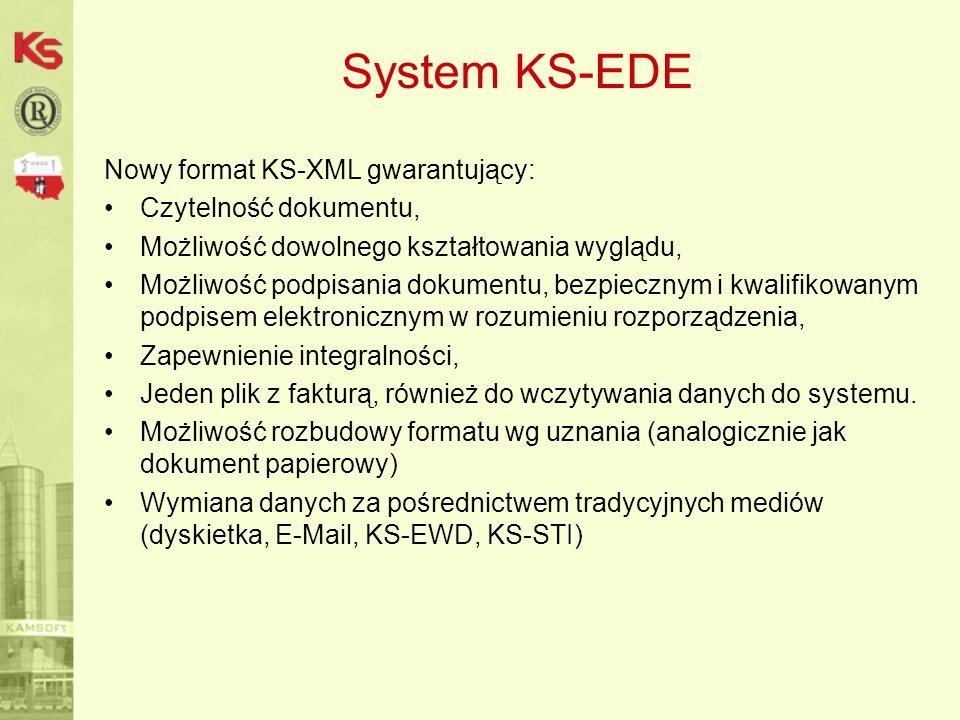 System KS-EDE Nowy format KS-XML gwarantujący: Czytelność dokumentu,
