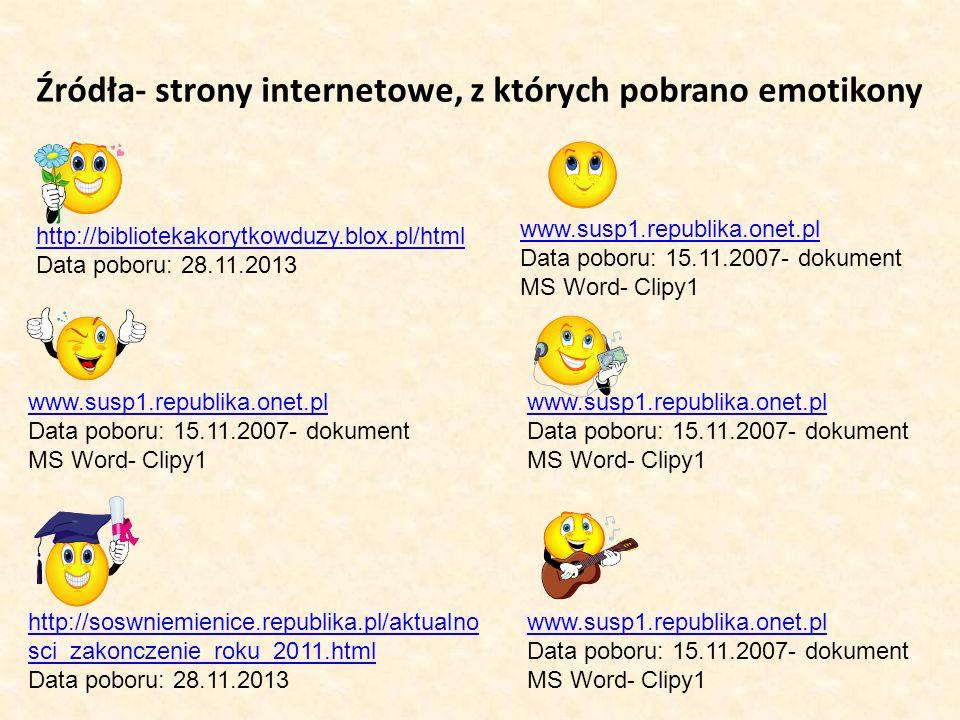 Źródła- strony internetowe, z których pobrano emotikony
