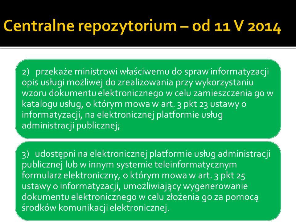 Centralne repozytorium – od 11 V 2014