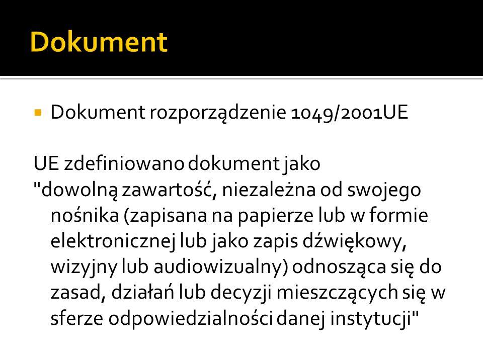 Dokument Dokument rozporządzenie 1049/2001UE