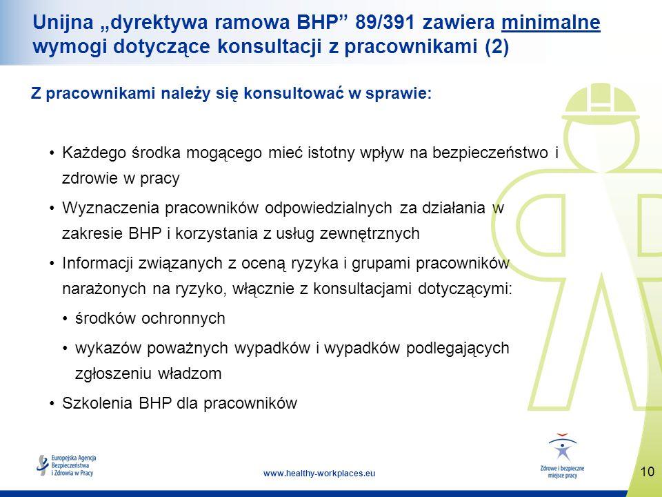 """Unijna """"dyrektywa ramowa BHP 89/391 zawiera minimalne wymogi dotyczące konsultacji z pracownikami (2)"""
