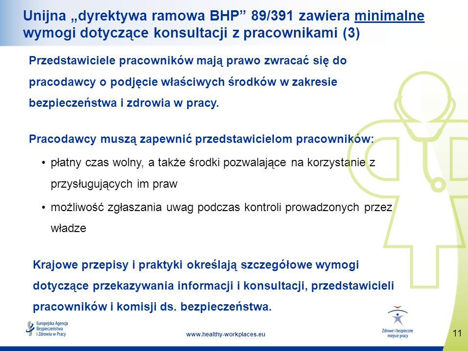 """Unijna """"dyrektywa ramowa BHP 89/391 zawiera minimalne wymogi dotyczące konsultacji z pracownikami (3)"""