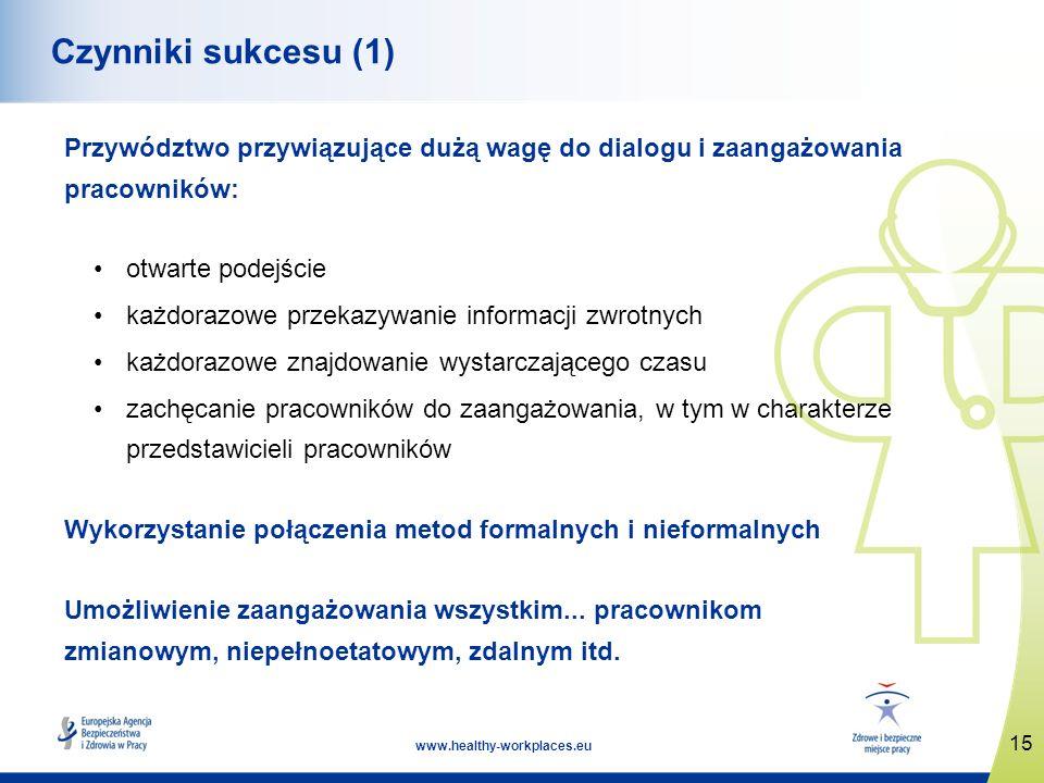 Czynniki sukcesu (1) Przywództwo przywiązujące dużą wagę do dialogu i zaangażowania pracowników: otwarte podejście.