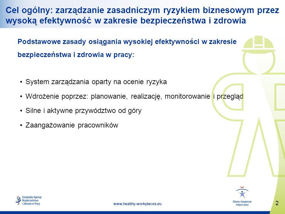 Cel ogólny: zarządzanie zasadniczym ryzykiem biznesowym przez wysoką efektywność w zakresie bezpieczeństwa i zdrowia