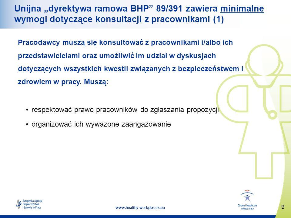 """Unijna """"dyrektywa ramowa BHP 89/391 zawiera minimalne wymogi dotyczące konsultacji z pracownikami (1)"""