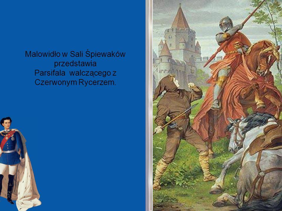 Malowidło w Sali Śpiewaków przedstawia Parsifala walczącego z Czerwonym Rycerzem.