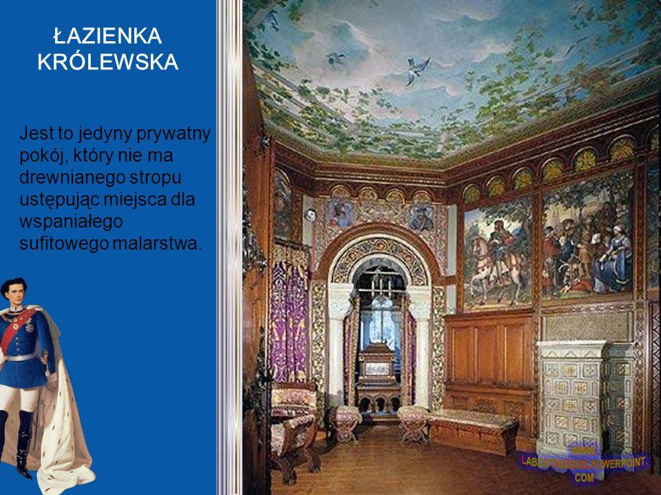 ŁAZIENKA KRÓLEWSKA Jest to jedyny prywatny pokój, który nie ma drewnianego stropu ustępując miejsca dla wspaniałego sufitowego malarstwa.