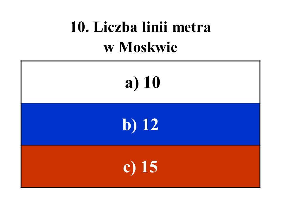 10. Liczba linii metra w Moskwie