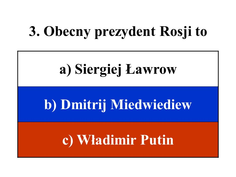 3. Obecny prezydent Rosji to