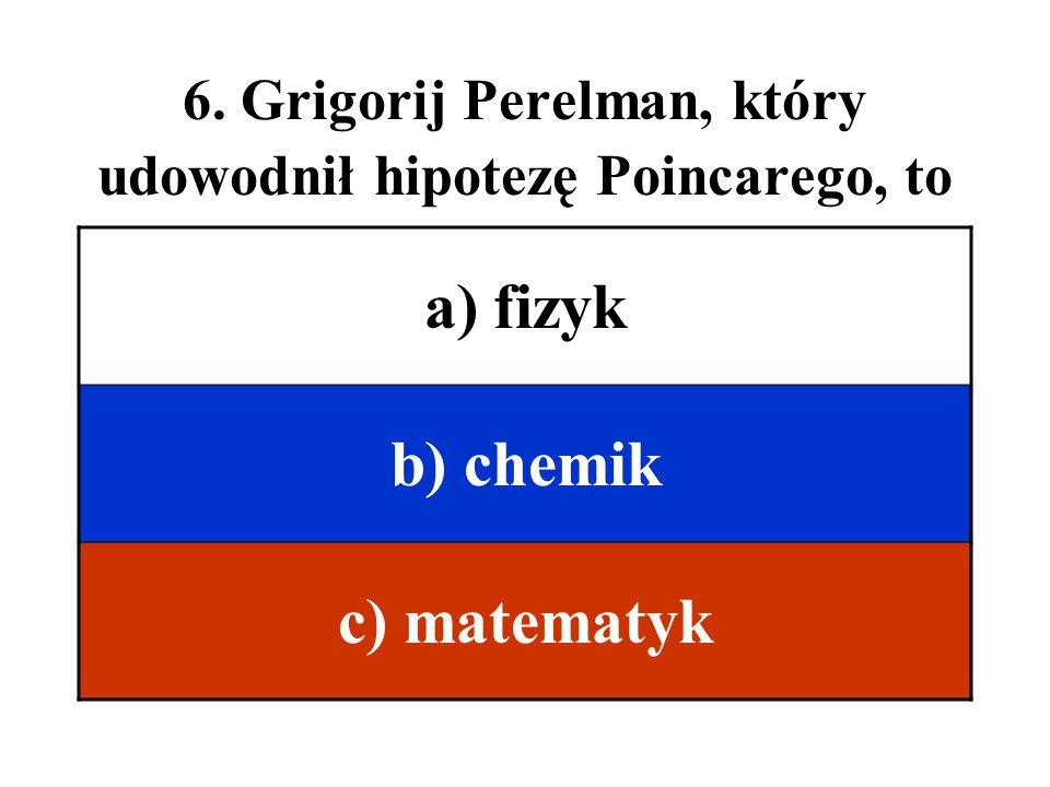6. Grigorij Perelman, który udowodnił hipotezę Poincarego, to