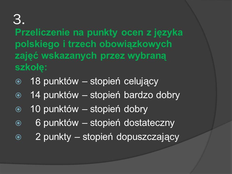3. Przeliczenie na punkty ocen z języka polskiego i trzech obowiązkowych zajęć wskazanych przez wybraną szkołę: