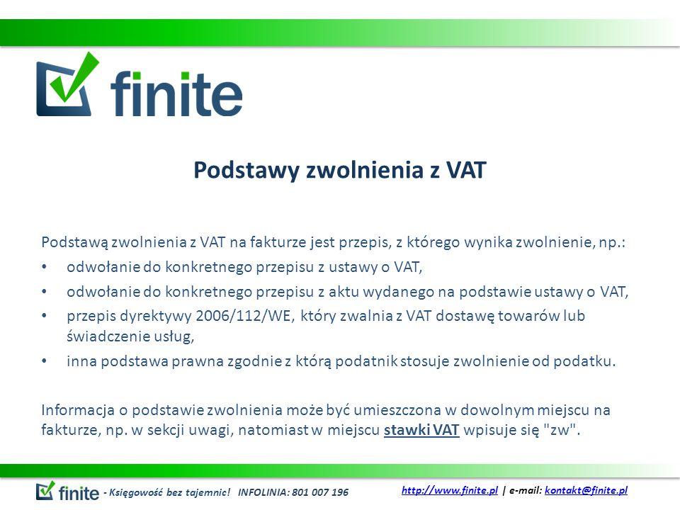 Podstawy zwolnienia z VAT