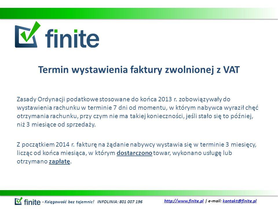 Termin wystawienia faktury zwolnionej z VAT