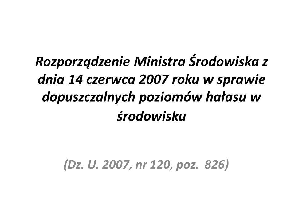 Rozporządzenie Ministra Środowiska z dnia 14 czerwca 2007 roku w sprawie dopuszczalnych poziomów hałasu w środowisku