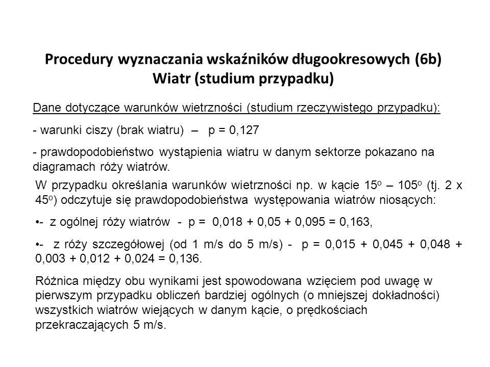 Procedury wyznaczania wskaźników długookresowych (6b) Wiatr (studium przypadku)