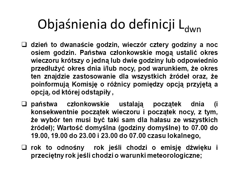 Objaśnienia do definicji Ldwn