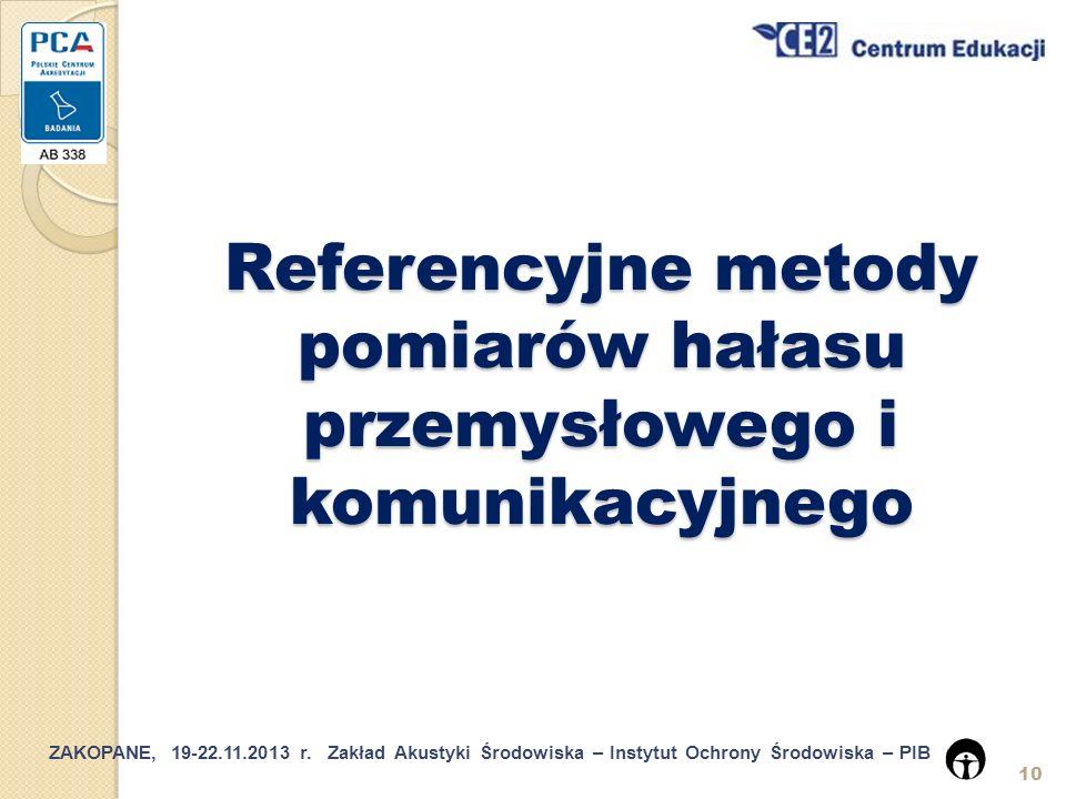 Referencyjne metody pomiarów hałasu przemysłowego i komunikacyjnego