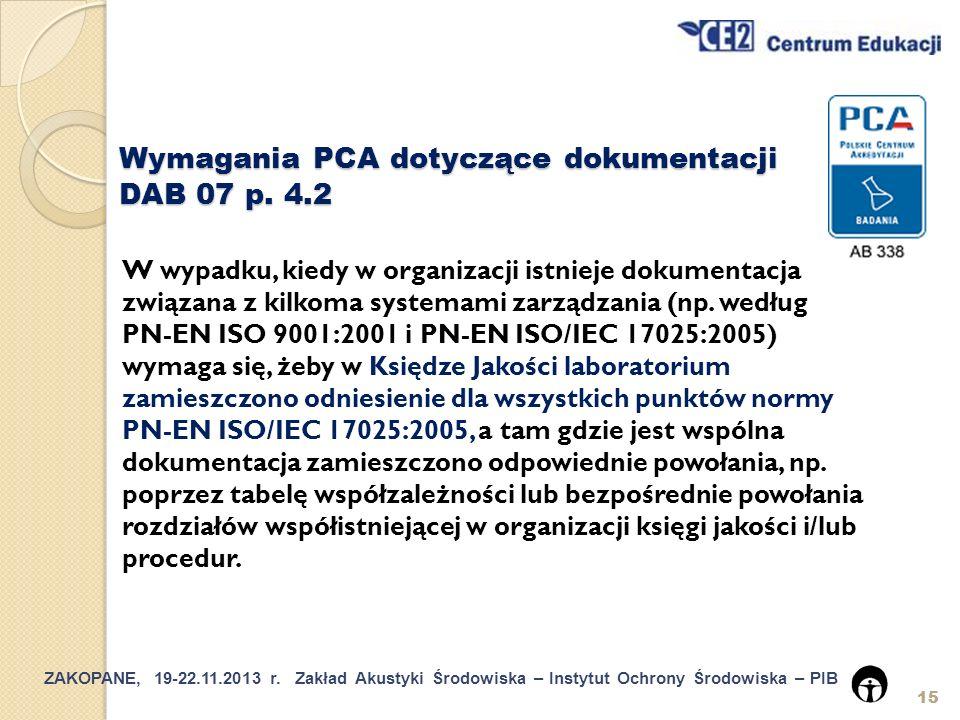 Wymagania PCA dotyczące dokumentacji DAB 07 p. 4.2