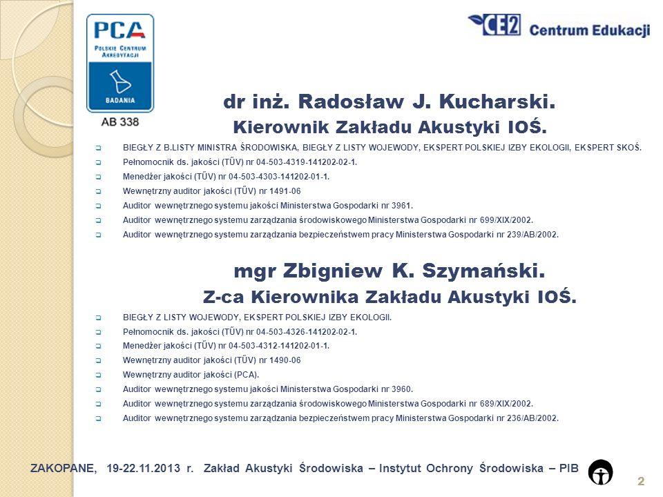dr inż. Radosław J. Kucharski. mgr Zbigniew K. Szymański.