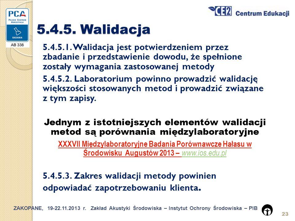 5.4.5. Walidacja 5.4.5.1. Walidacja jest potwierdzeniem przez zbadanie i przedstawienie dowodu, że spełnione zostały wymagania zastosowanej metody.