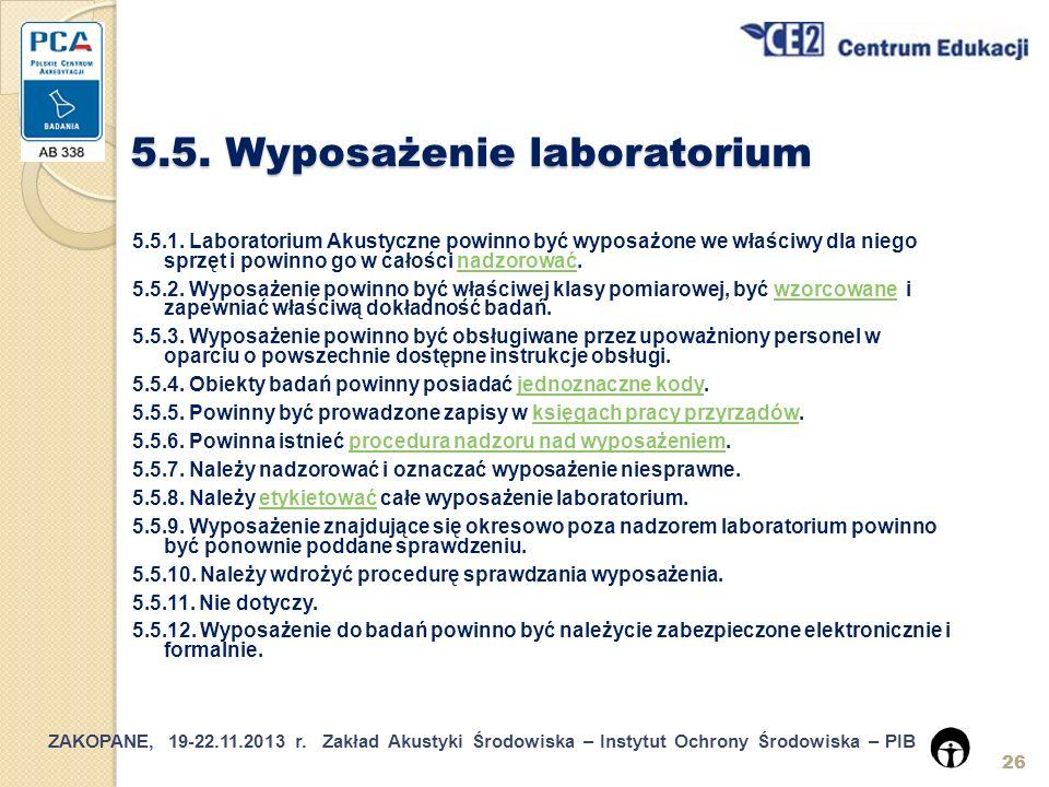 5.5. Wyposażenie laboratorium