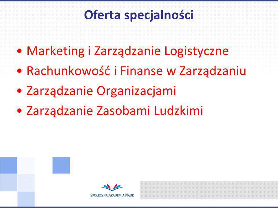 Oferta specjalności Marketing i Zarządzanie Logistyczne. Rachunkowość i Finanse w Zarządzaniu. Zarządzanie Organizacjami.