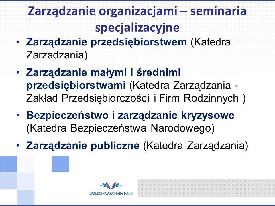 Zarządzanie organizacjami – seminaria specjalizacyjne