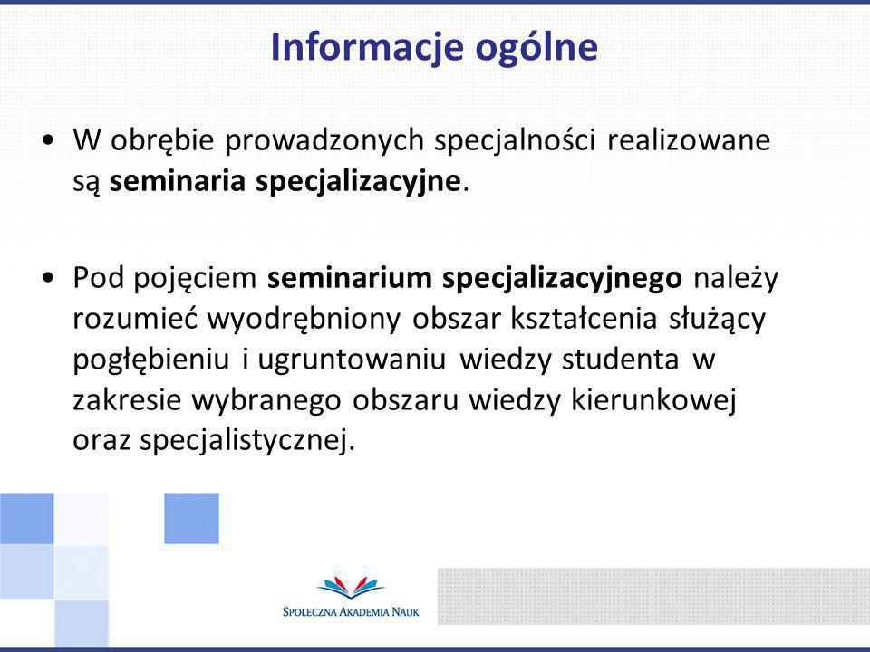 Informacje ogólne W obrębie prowadzonych specjalności realizowane są seminaria specjalizacyjne.