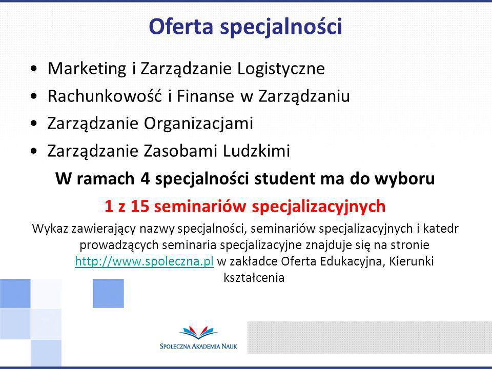 Oferta specjalności Marketing i Zarządzanie Logistyczne