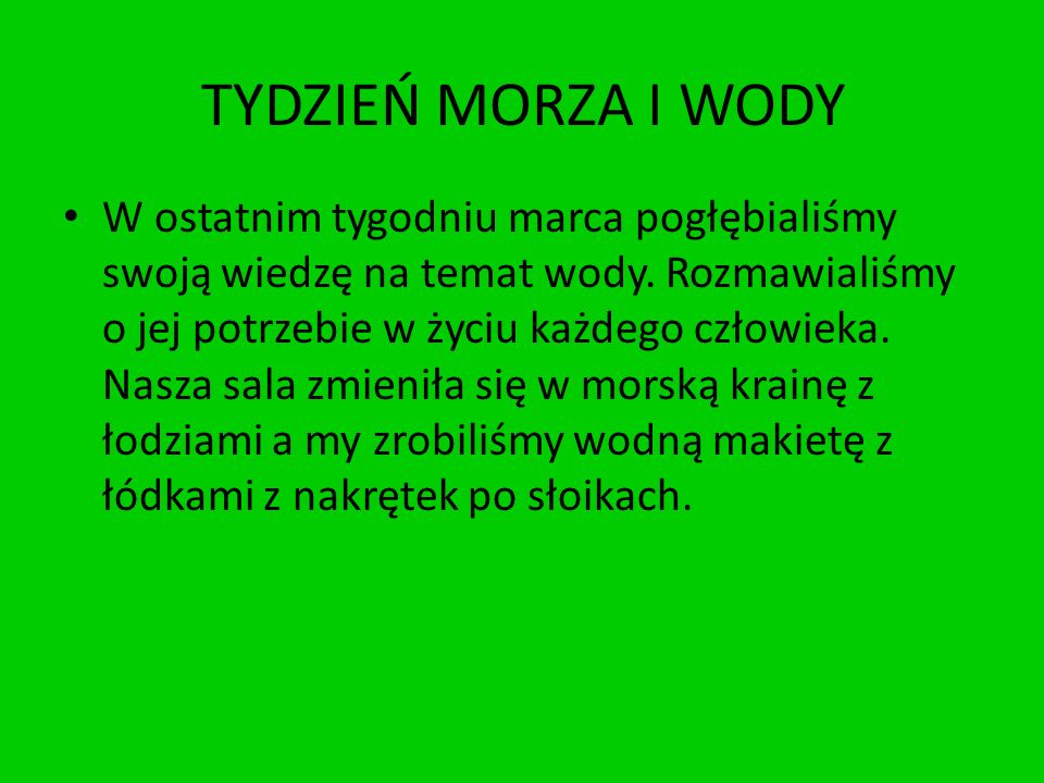 TYDZIEŃ MORZA I WODY