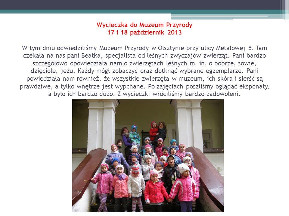 Wycieczka do Muzeum Przyrody 17 i 18 październik 2013 W tym dniu odwiedziliśmy Muzeum Przyrody w Olsztynie przy ulicy Metalowej 8.
