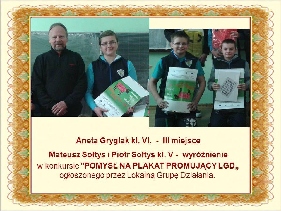 Aneta Gryglak kl. VI. - III miejsce