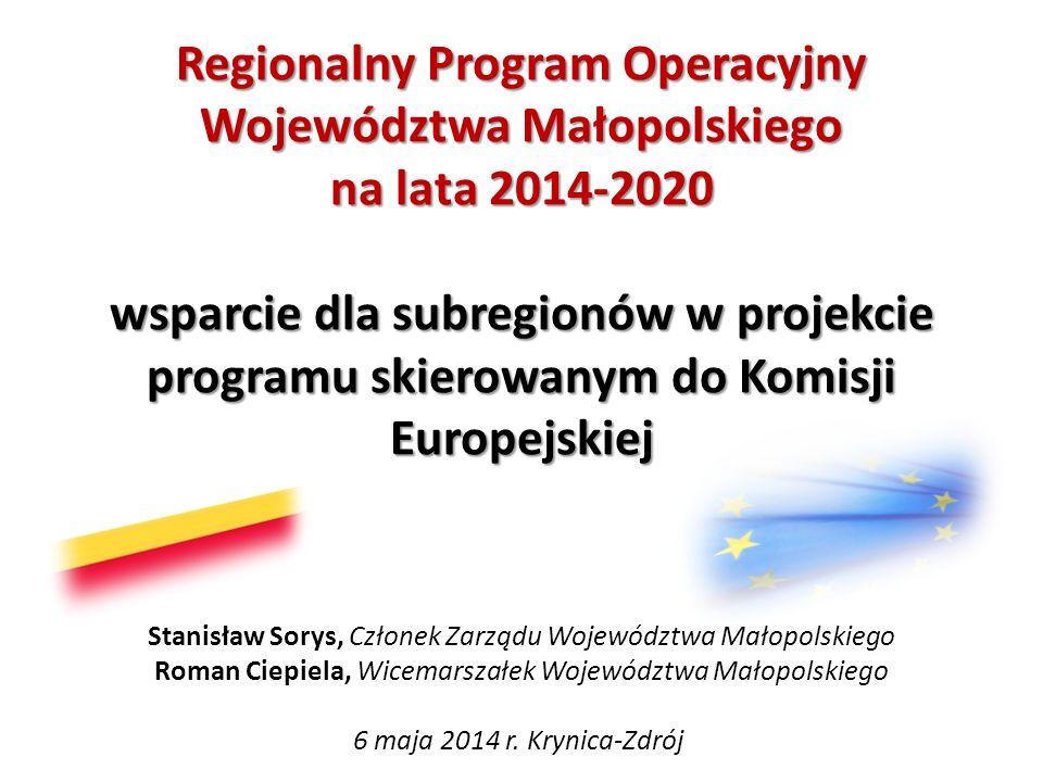 Regionalny Program Operacyjny Województwa Małopolskiego na lata 2014-2020 wsparcie dla subregionów w projekcie programu skierowanym do Komisji Europejskiej
