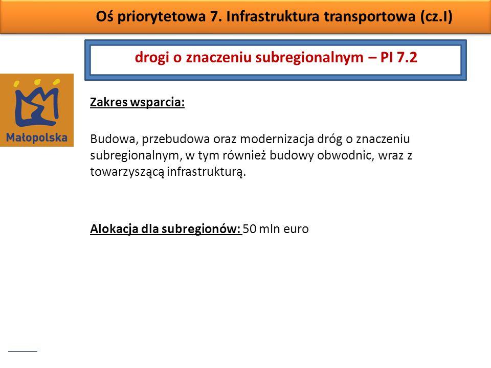 drogi o znaczeniu subregionalnym – PI 7.2