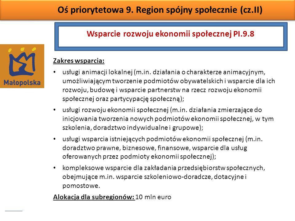 Wsparcie rozwoju ekonomii społecznej PI.9.8