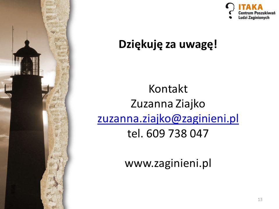 Dziękuję za uwagę. Kontakt Zuzanna Ziajko zuzanna. ziajko@zaginieni