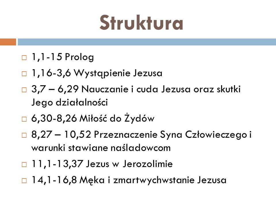 Struktura 1,1-15 Prolog 1,16-3,6 Wystąpienie Jezusa
