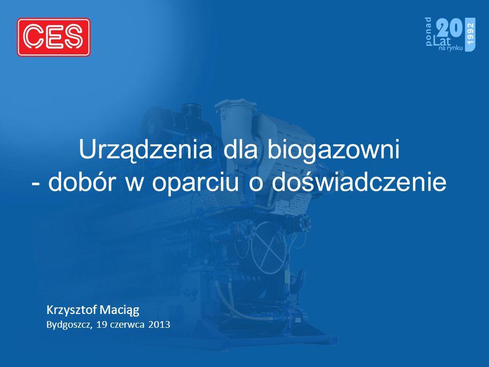 Urządzenia dla biogazowni - dobór w oparciu o doświadczenie