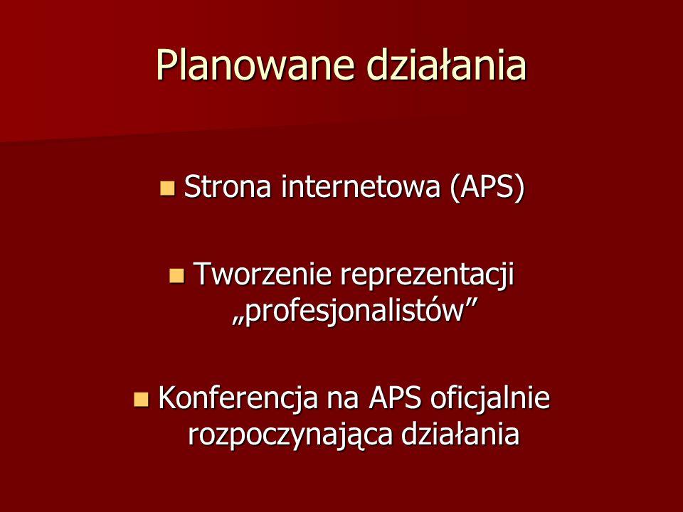 Planowane działania Strona internetowa (APS)