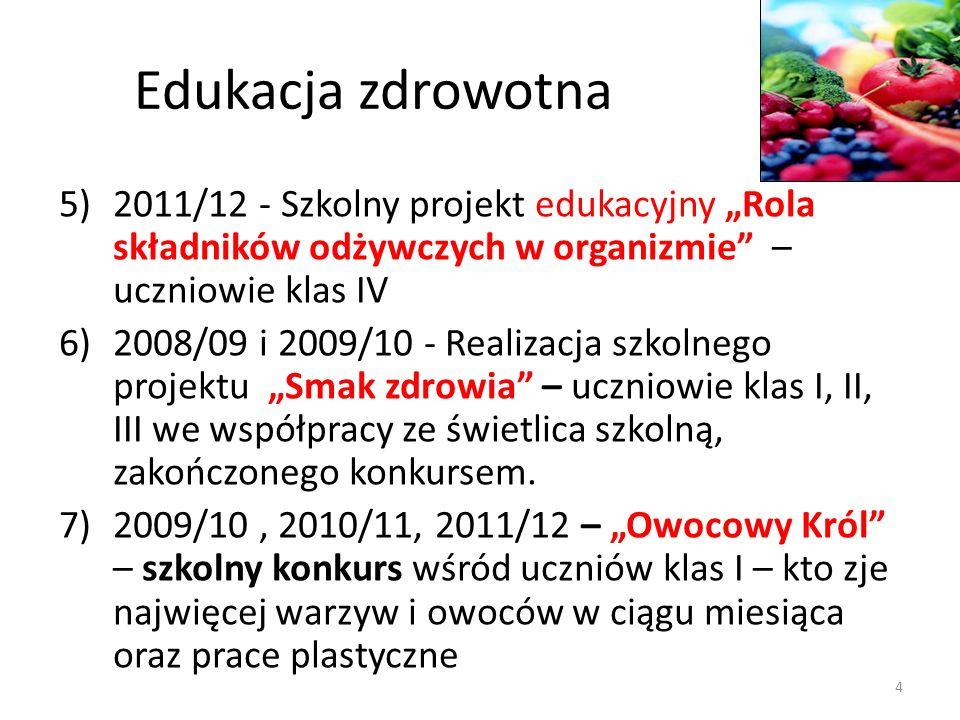 """Edukacja zdrowotna 2011/12 - Szkolny projekt edukacyjny """"Rola składników odżywczych w organizmie – uczniowie klas IV."""