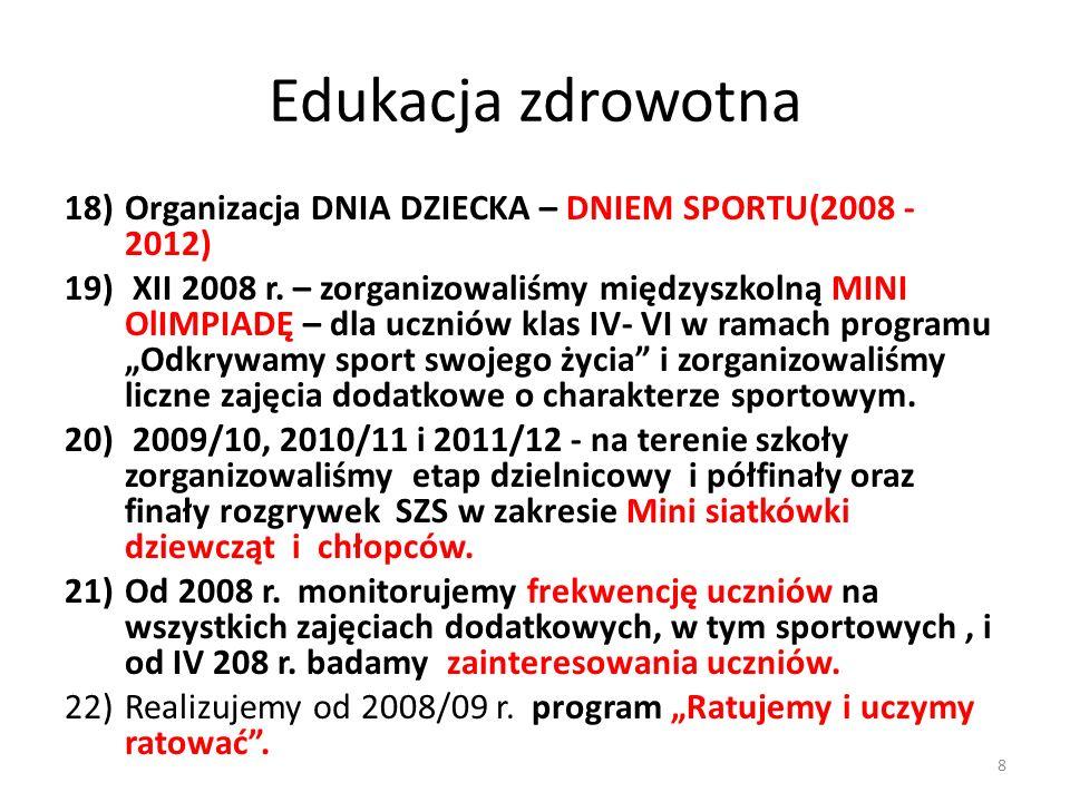 Edukacja zdrowotna Organizacja DNIA DZIECKA – DNIEM SPORTU(2008 - 2012)
