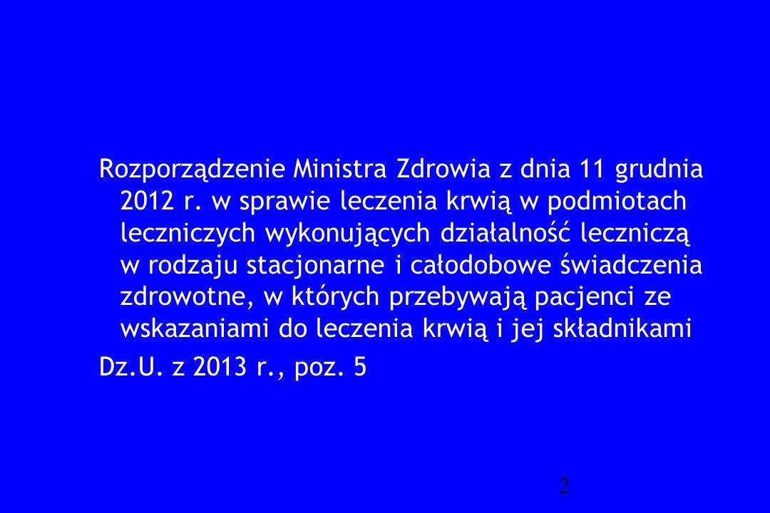 Rozporządzenie Ministra Zdrowia z dnia 11 grudnia 2012 r