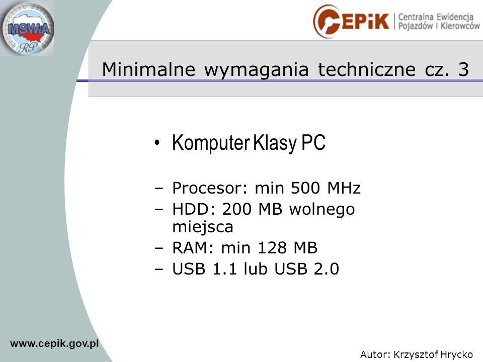 Minimalne wymagania techniczne cz. 3