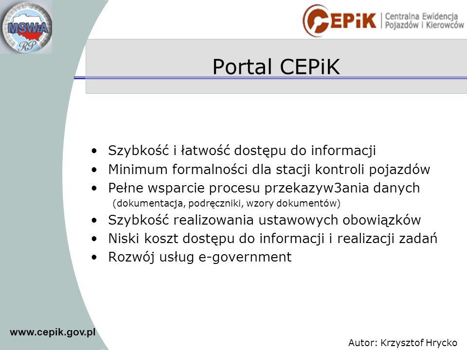 Portal CEPiK Szybkość i łatwość dostępu do informacji