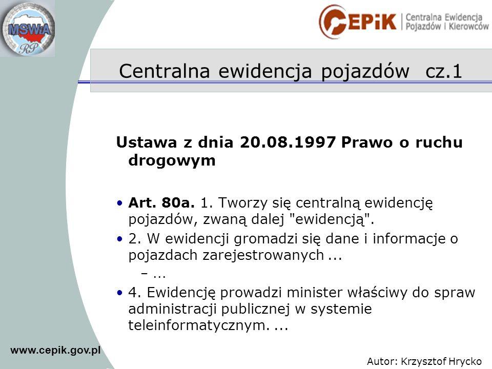 Centralna ewidencja pojazdów cz.1