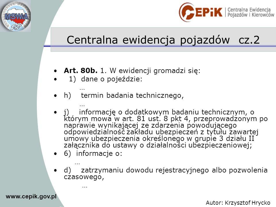 Centralna ewidencja pojazdów cz.2