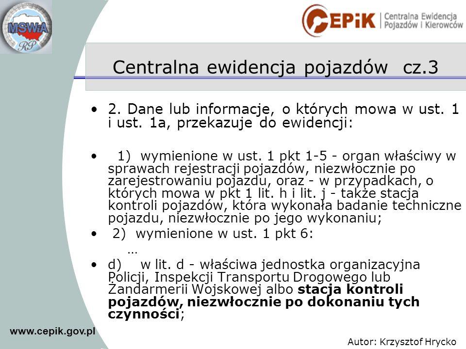Centralna ewidencja pojazdów cz.3