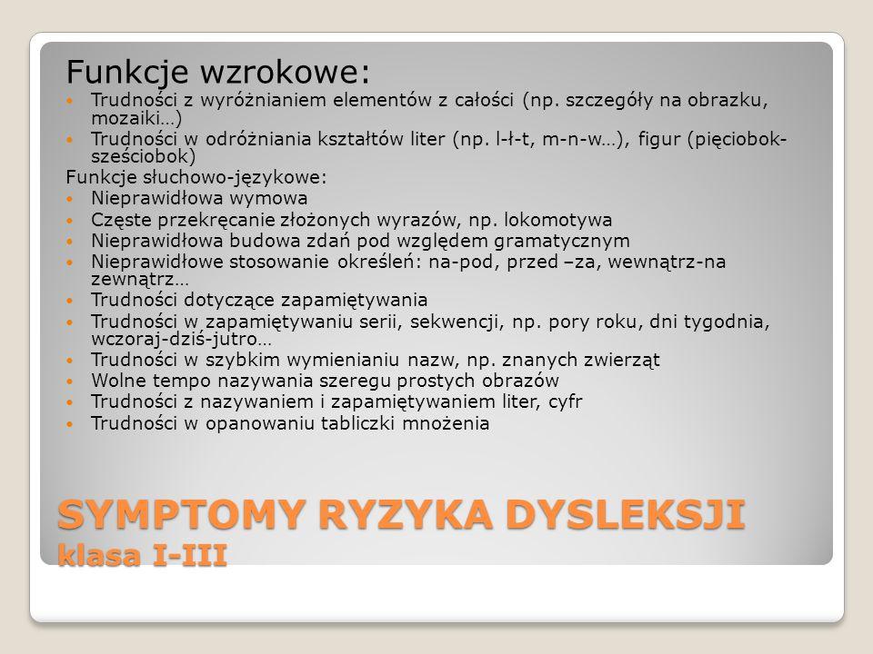 SYMPTOMY RYZYKA DYSLEKSJI klasa I-III