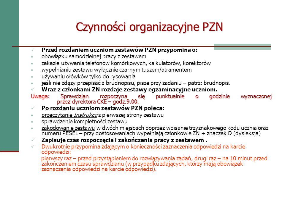 Czynności organizacyjne PZN