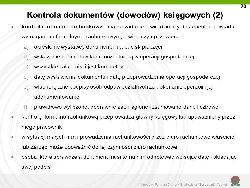 Kontrola dokumentów (dowodów) księgowych (2)